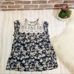 Anthropologie postmark baby floral lace top Xs